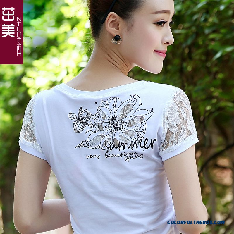 Hot Selling Slim Crew Neck Lace Short-sleeved T-shirt Women Large Size Summer
