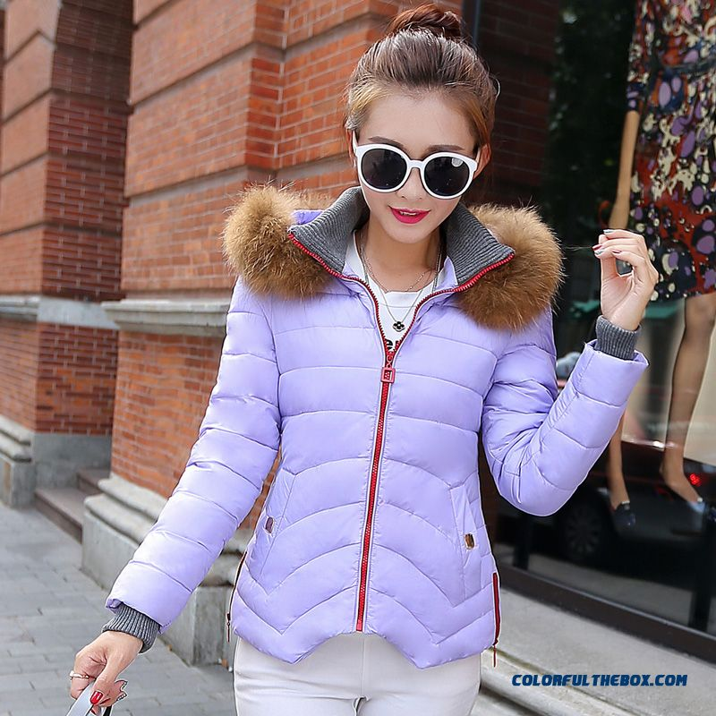 Hot Selling Women Wear Hooded Coats Fur Collar Short Purple Sexy
