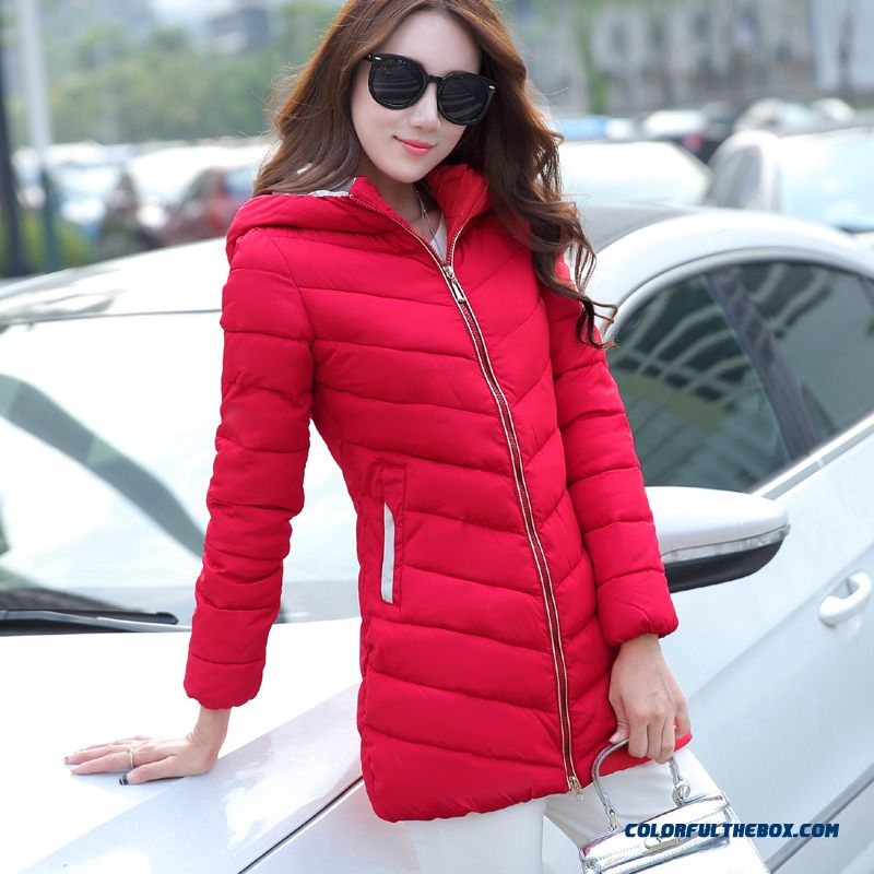 Hot Selling Women Wear Hooded Coats Medium Length Red Down Cotton Clothing