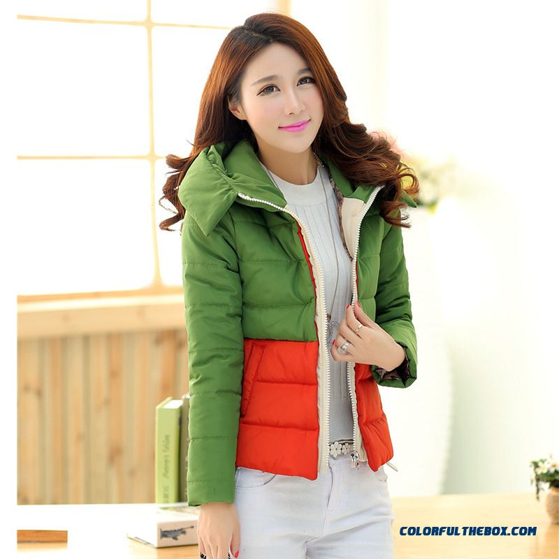 Hot Selling Women Wear Hooded Coats Short Spell Color Cotton Fashion