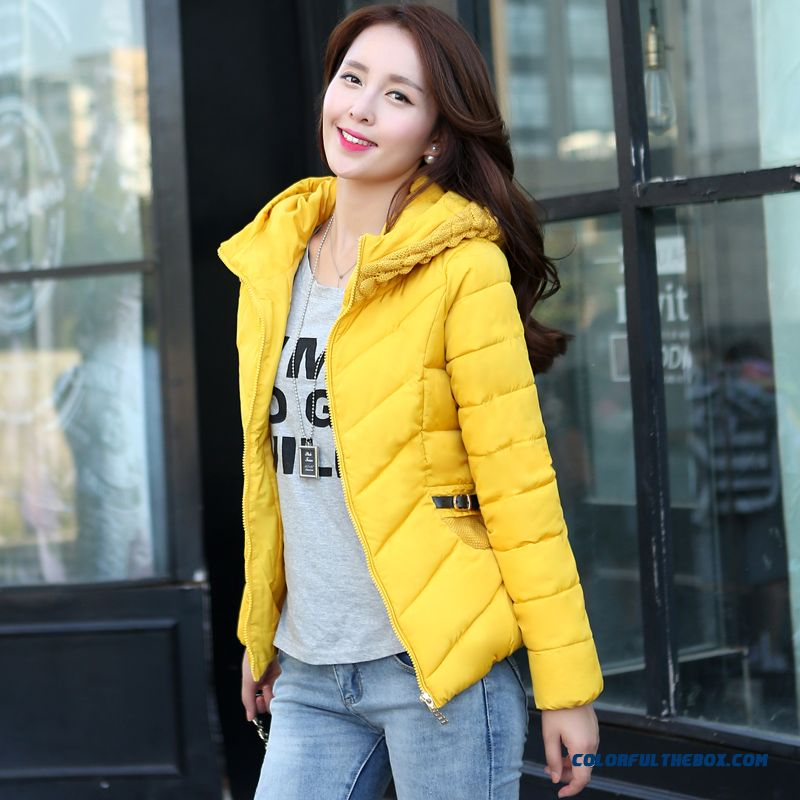 Hot Selling Women Wear Hooded Coats Yellow Red Blue Young Simlpe
