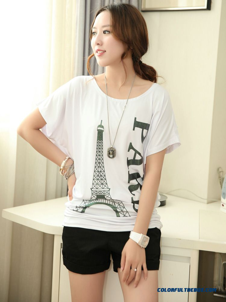 Ice Silk T-shirts Wholesale Women Summer Fashion Blouses Free Shipping