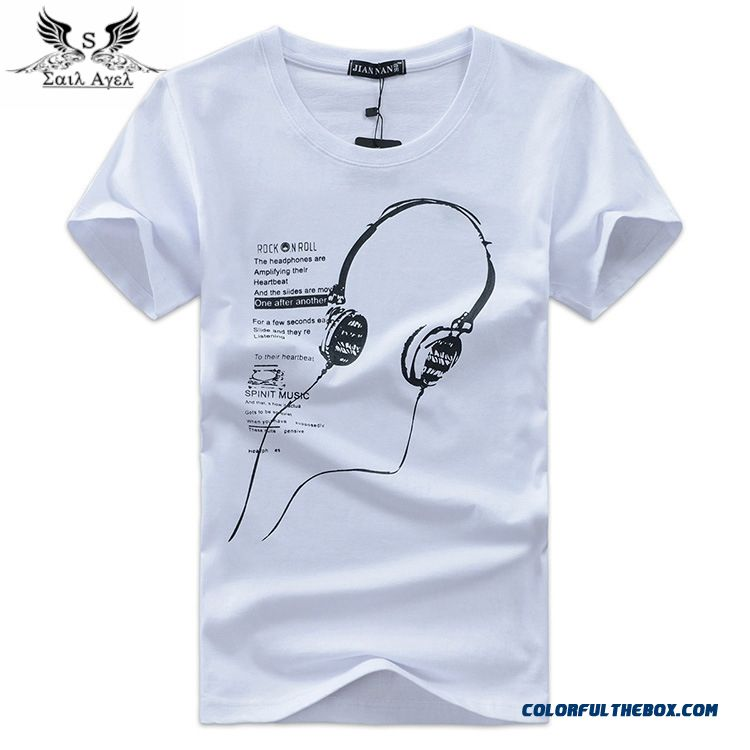 In The Summer Of 2016 Men's Cotton Short Sleeved T-shirt Korean Fashion Men's Music Headset Wholesale Class Service