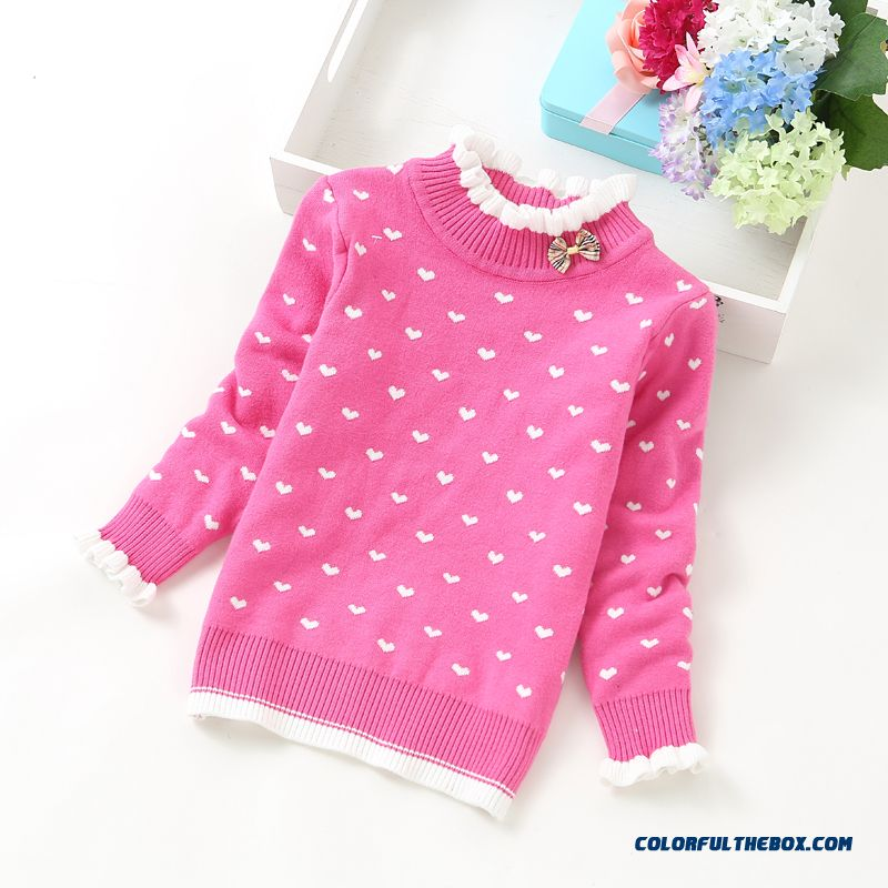 Jacquard Autumn And Winter Kids Clothing Girls Double Thick Warm Sweaters Pullover Baby Bow Knit Primer Shirt
