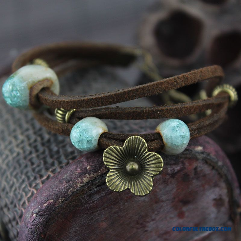 Jewelry Retro Five Petals Bohemia Ceramic Bracelet & Bangle Free Shipping For Women