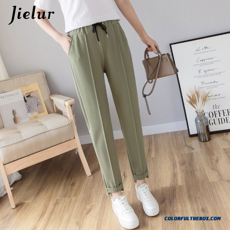 Jielur Harem Pants Women 2019 Spring Autumn Pure Color Woman Pants Casual Korean Style Black Apricot Drawstring Pantalones Mujer