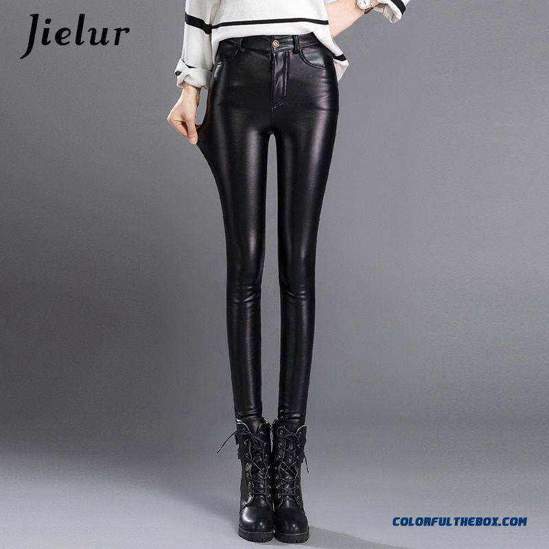 Jielur Thin Skinny Female Pu Leather Pants Korean Casual Sweatpants Plus Size Lady Pencil Pants Fall Trousers Women 3xl Dropship