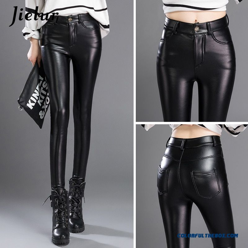 Jielur Thin Skinny Female Pu Leather Pants Korean Casual Sweatpants Plus Size Lady Pencil Pants Fall Trousers Women 3xl Dropship - more images 1