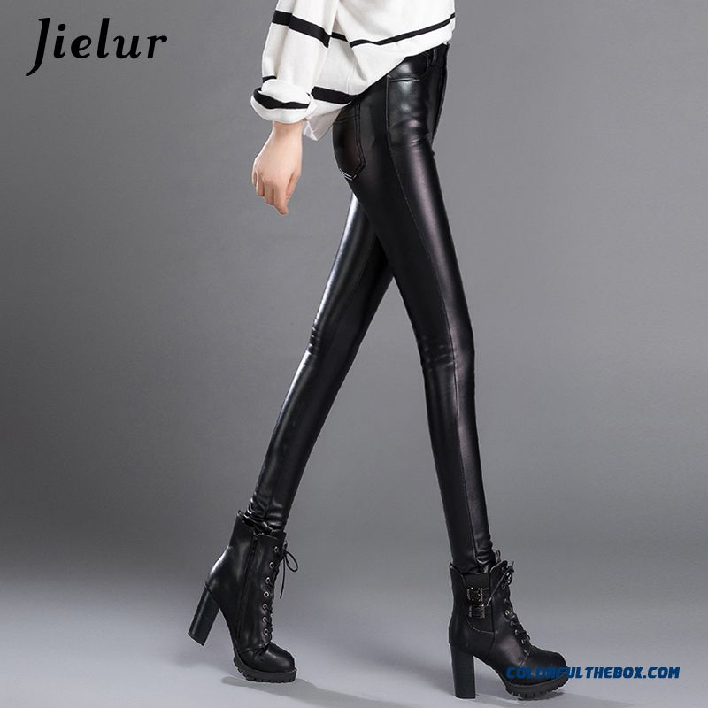 Jielur Thin Skinny Female Pu Leather Pants Korean Casual Sweatpants Plus Size Lady Pencil Pants Fall Trousers Women 3xl Dropship - more images 2