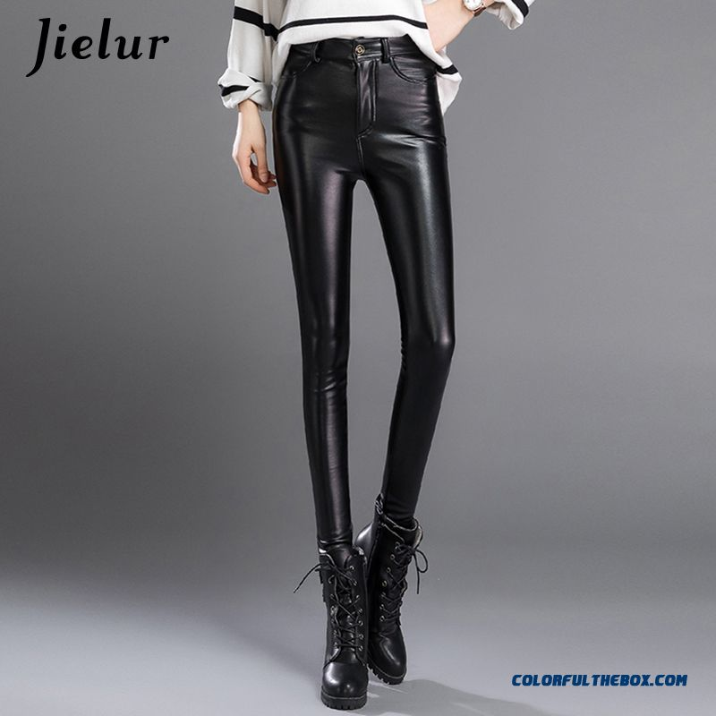 Jielur Thin Skinny Female Pu Leather Pants Korean Casual Sweatpants Plus Size Lady Pencil Pants Fall Trousers Women 3xl Dropship - more images 3