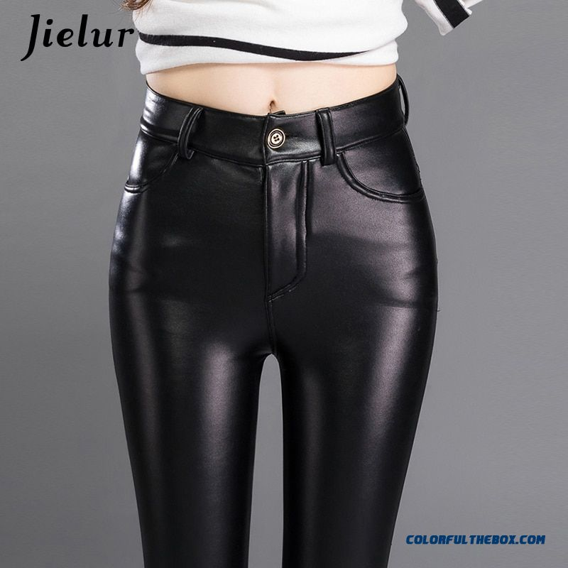 Jielur Thin Skinny Female Pu Leather Pants Korean Casual Sweatpants Plus Size Lady Pencil Pants Fall Trousers Women 3xl Dropship - more images 4