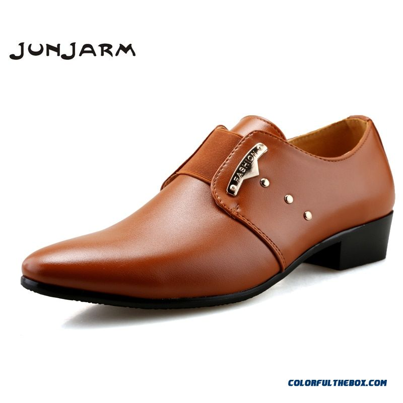 Junjarm Men Formal Shoes Mens Slip-on Shoes Pu Leather Brown Black Elastic Band Men Dress Shoes Office Party Wedding Shoes