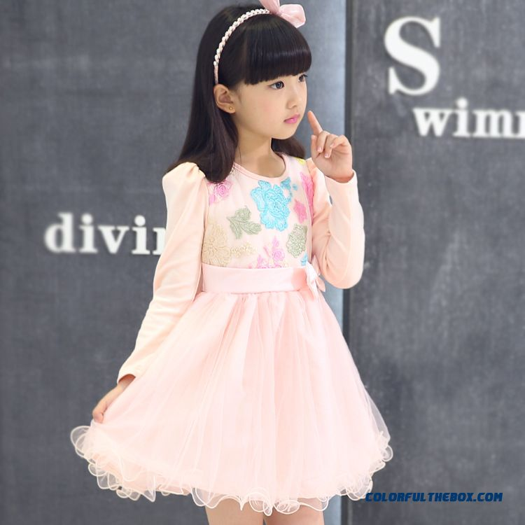 Keep Warm Add Velvet For Girls Kids Hot Sale Dress Long-sleeved