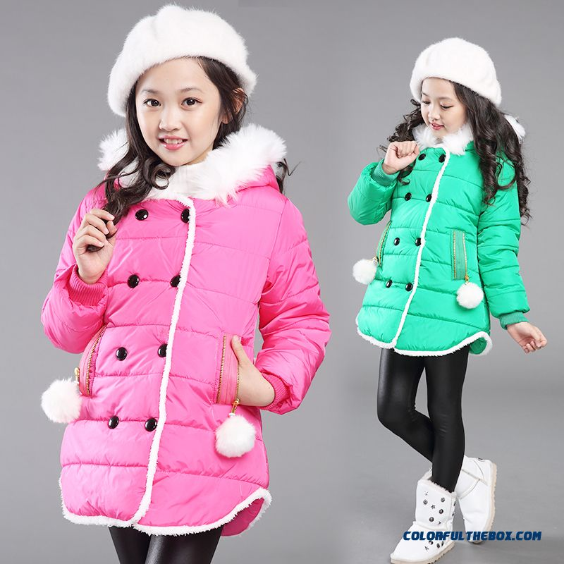 Kids 2015 Winter Girls Thick Padded Jacket Medium-long Sections Red Green Clothing With Two Hairball