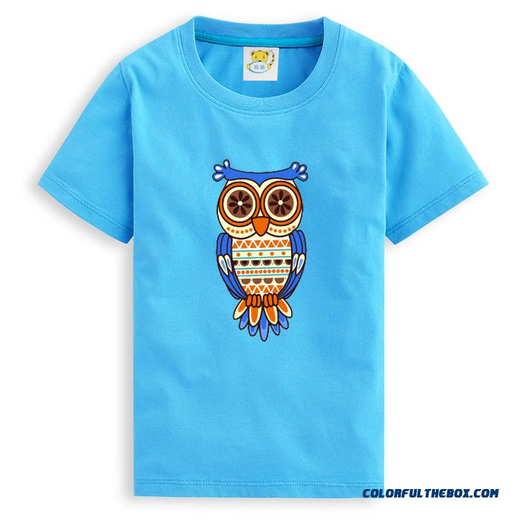 Kids Absorb Sweat Cotton Boys Summer 2016 Short-sleeved T-shirt Vogue Owl Patterns