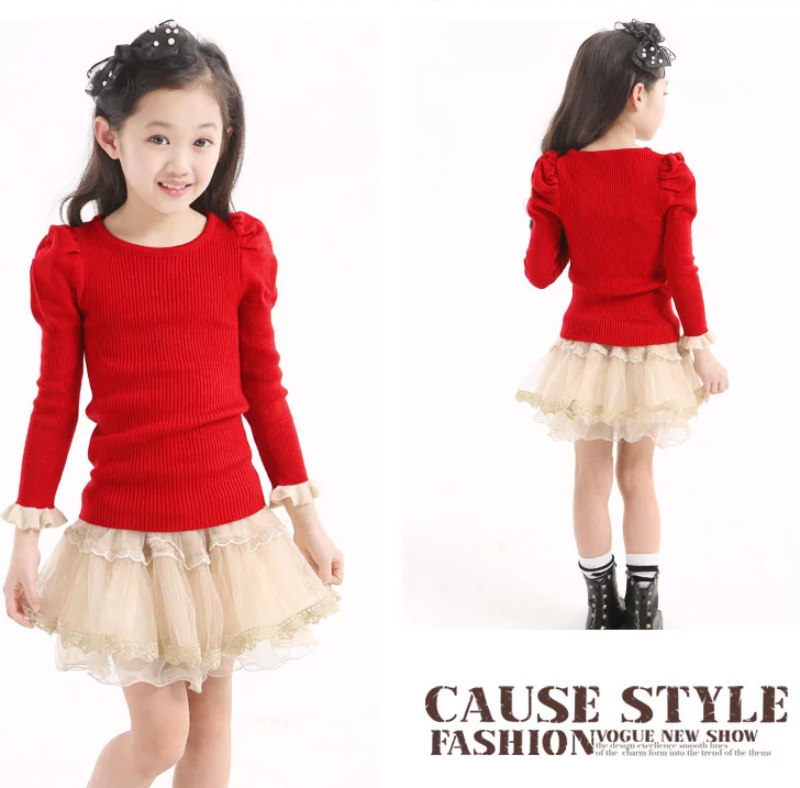 Kids Autumn And Winter High-necked Sweater Pullover Thick Red And Black Girls Sweater Knit Sweater Korean Version