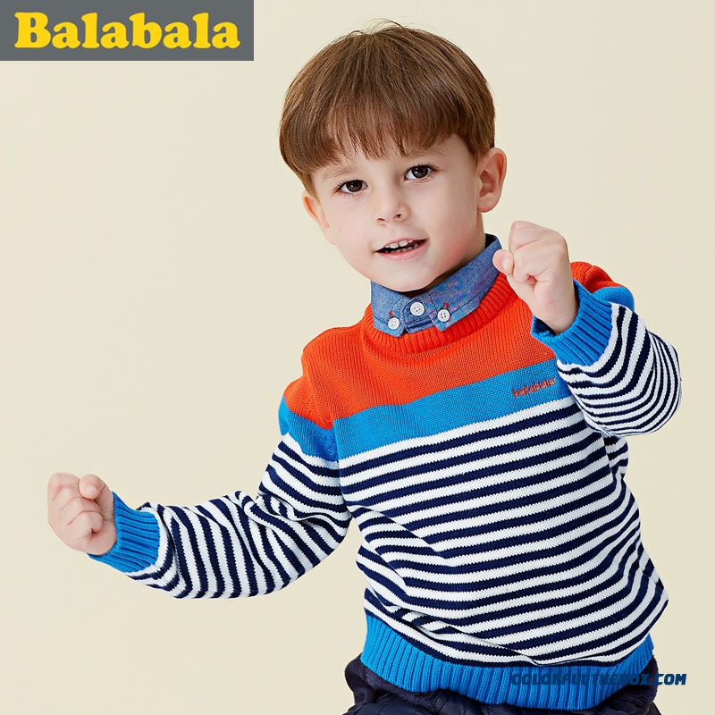 Kids Balabala Brand Sweater Baby Boy Sweater Round Neck Pullover Autumn And Winter Clothing