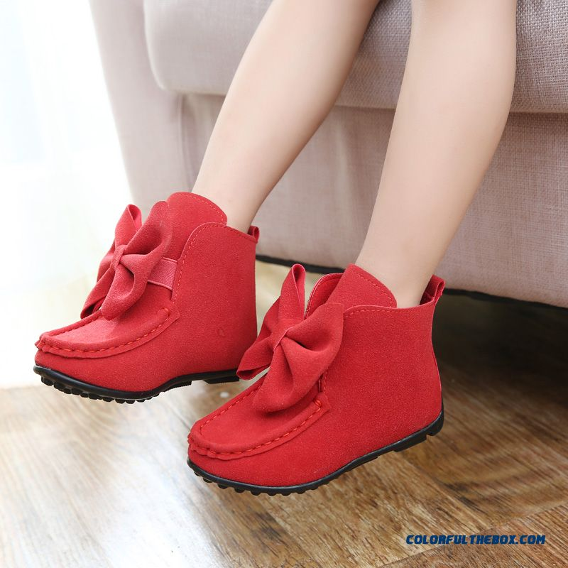 Kids Boots Set Foot Bowknot Baby Princess Girls Leather Shoes Children Boots Red