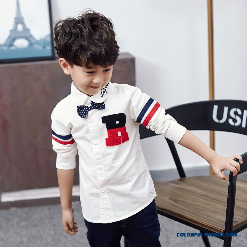 Kids Boys Spring 2016 New Cotton Long-sleeved White Blouses Shirt