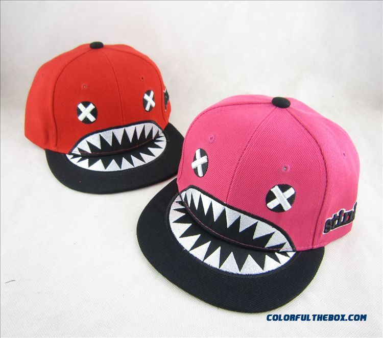 Kids Cartoon Character Lovely Shark Mouth Flat-brimmed Hat Boys Hip Hop Baseball Cap Accessories