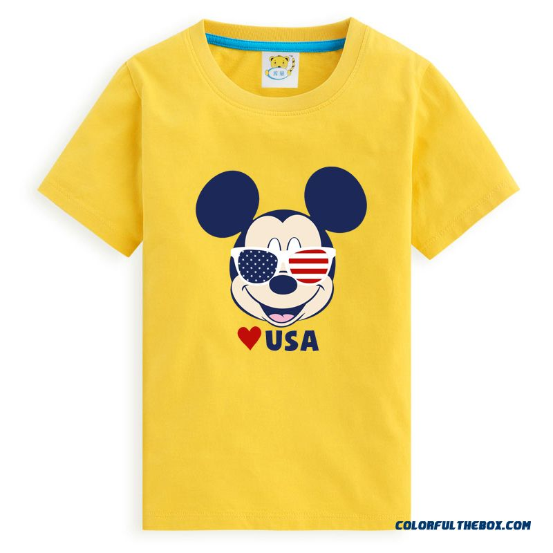 Kids Children's Clothes Boys Cotton Short-sleeved Round Neck T-shirt Bottoming Shirt