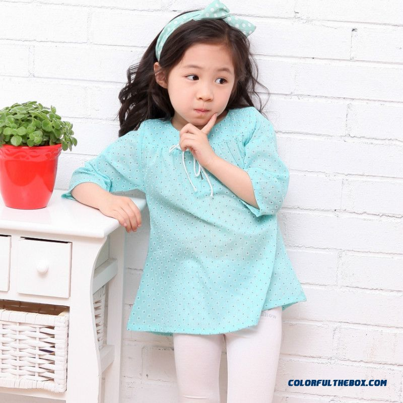 Kids Clothing 7 Points Sleeve Floral Shirt Girls Half-sleeve Blouses Shirts