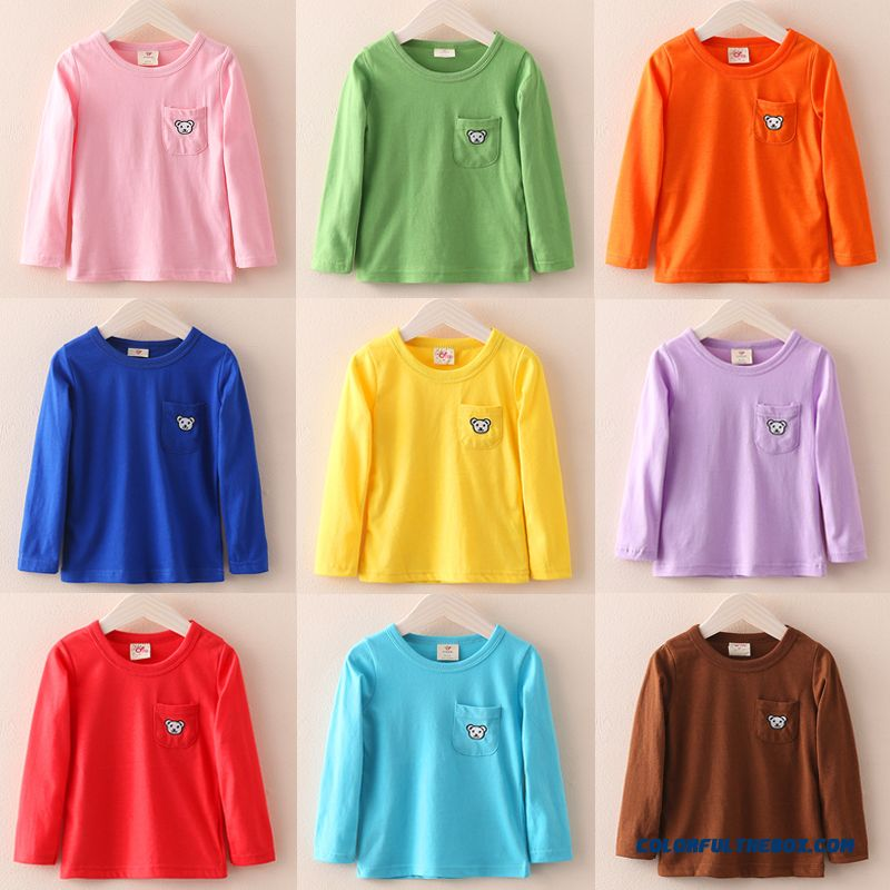 Kids Clothing Baby Girls Long-sleeved T-shirt Solid Color Primer Shirt Tx-1202