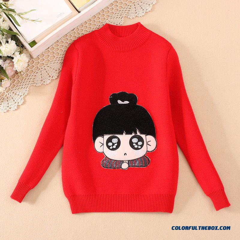 Kids Clothing Big Girls Cartoon Sweater Pullover Thick Round Neck Knit Primer Shirt