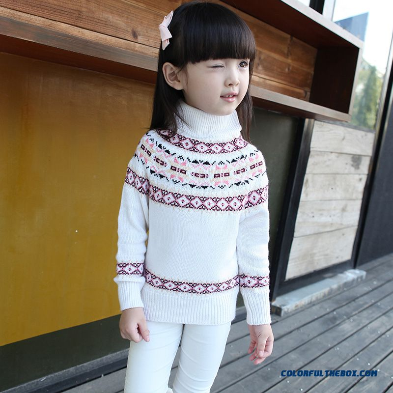 Kids Clothing Bottoming Sweater Girls Pullover Printing Half-collar Sweater Jacket 68281