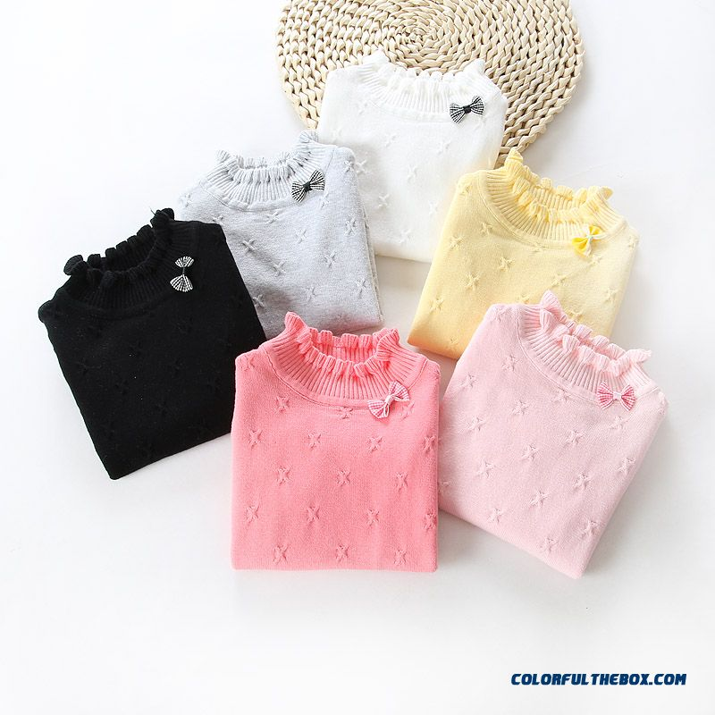 Kids Clothing Girls Bow Round Neck Sweater Sleeve Head Baby Baby Solid Color Sweaters