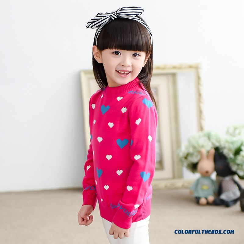 Kids Clothing Girls Sweater Coat Love Pullover Pink Black Sweater Bottoming