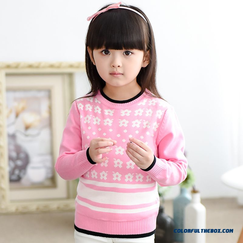 Kids Clothing Girls Sweater Coat Pattern Plum Sweater Bottoming Pullover Pink