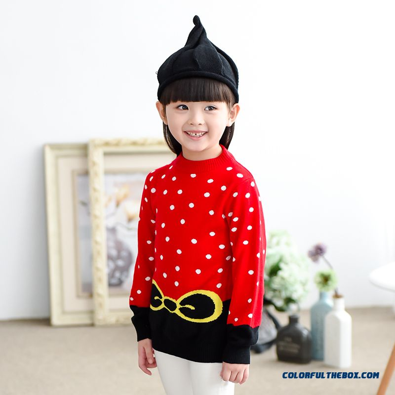 Kids Clothing Knit Primer Shirt Jacket Girls Bow Print Pullover Sweathers Red