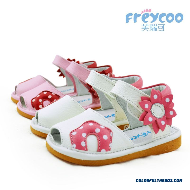 Kids Cowhide Genuine Leather Sandals Shoes Fish Mouth Princess Shoes Free Shipping For Girls
