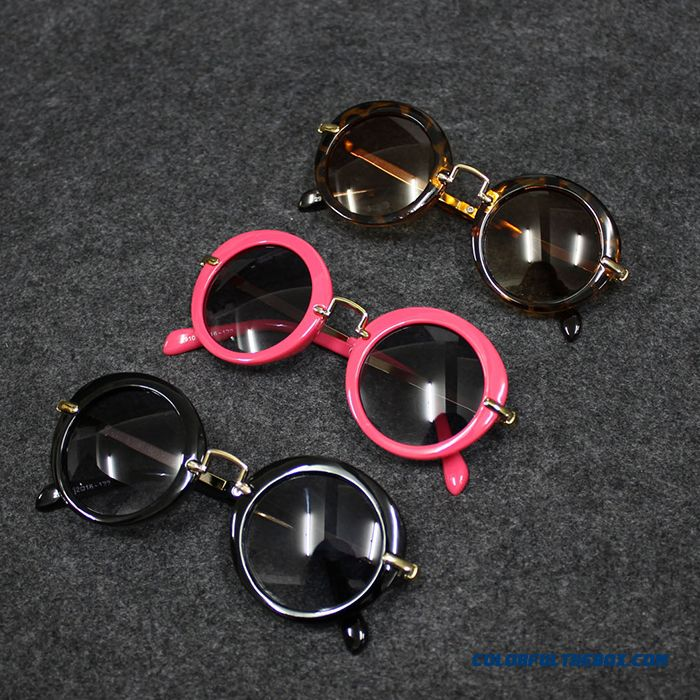 Kids Dark Glasses Kids Round Sunglasses Polarizer Fashionable Boys Retro Goggles Pink Black Accessories - more images 1