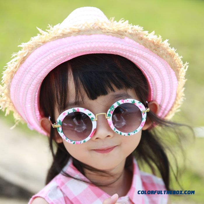 Kids Dark Glasses Kids Round Sunglasses Polarizer Fashionable Boys Retro Goggles Pink Black Accessories - more images 2