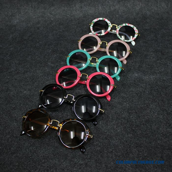Kids Dark Glasses Kids Round Sunglasses Polarizer Fashionable Boys Retro Goggles Pink Black Accessories - more images 4