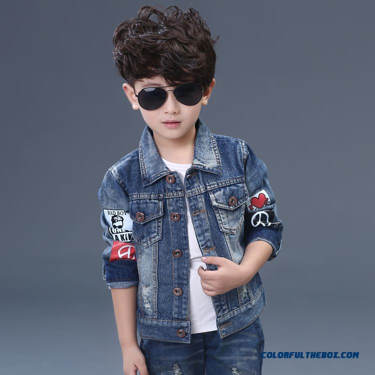 Kids Denim Clothing 2016 New Boy Denim Casual Jacket Cardigan Handsome