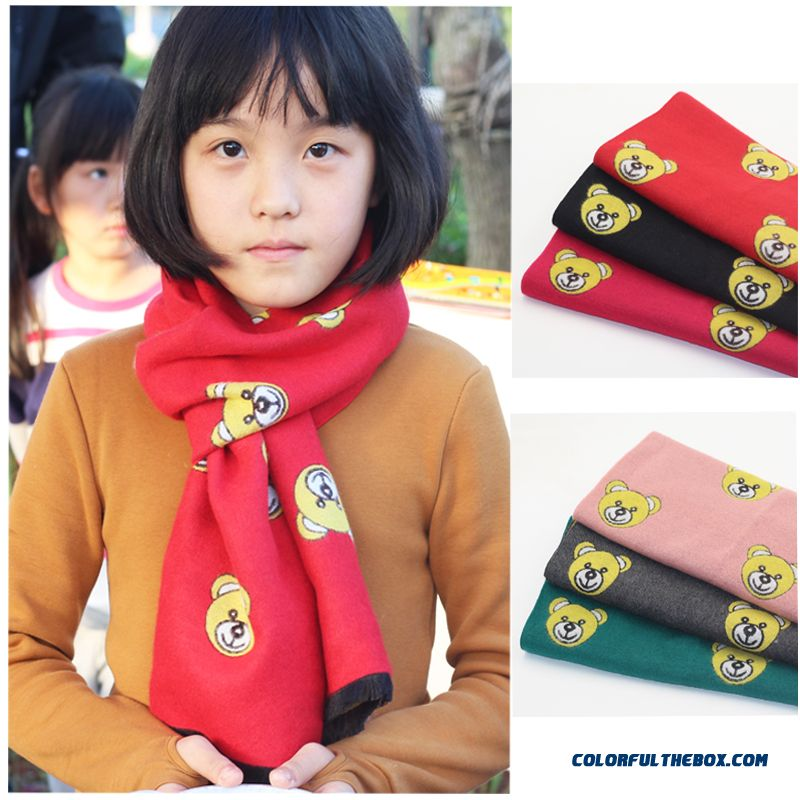 Kids Free Szie Cashmere Bear Scarves Pupils Autumn Accessories Private Label