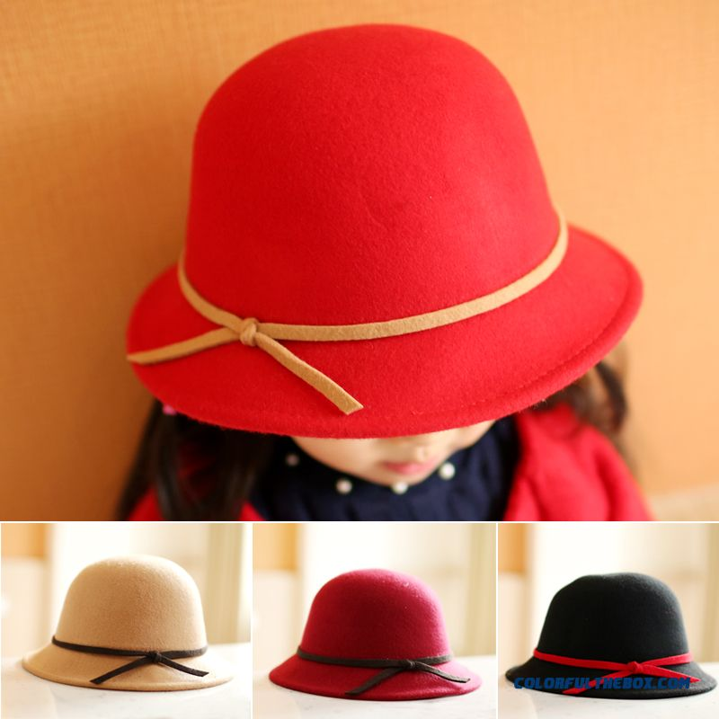 Kids Girls Fall Winter Woolen Cap Baby Hat Top Hat Fisherman Hat