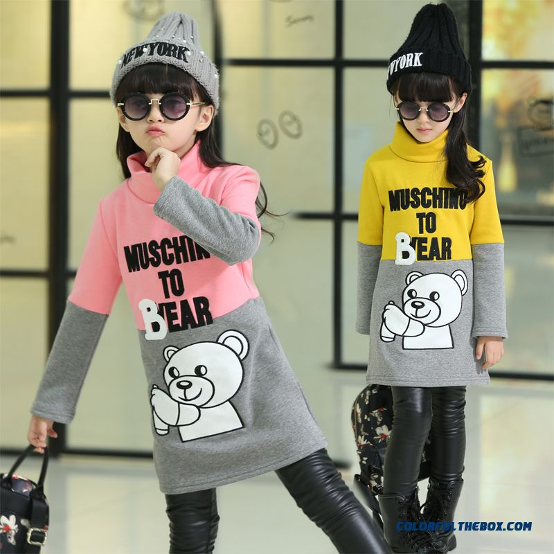 Kids Girls Long-sleeved Shirt Plus Thick Velvet High-necked T-shirt All-match Bear
