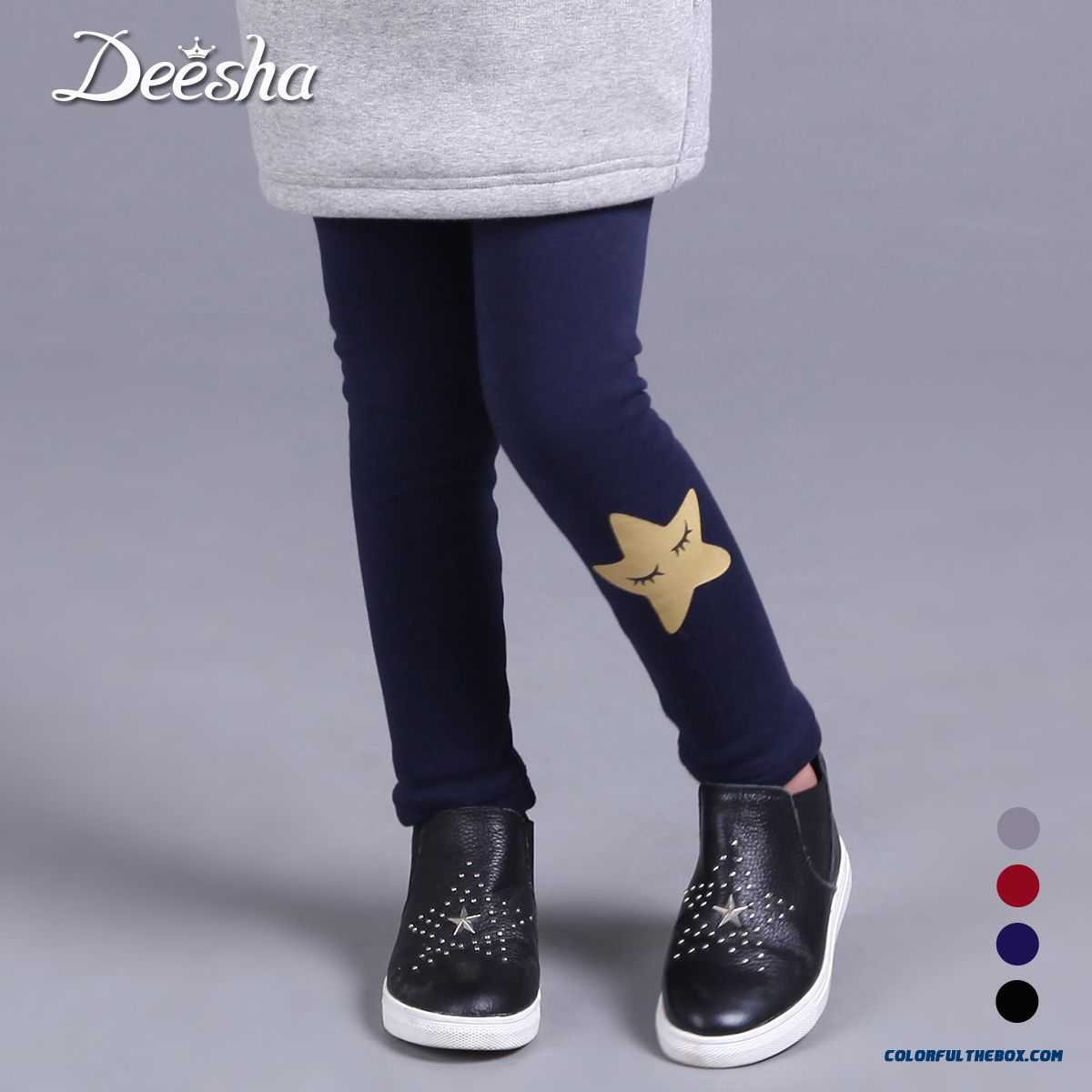 Kids Girls Plus Thick Velvet Render Pants Smile Pentagram Patten