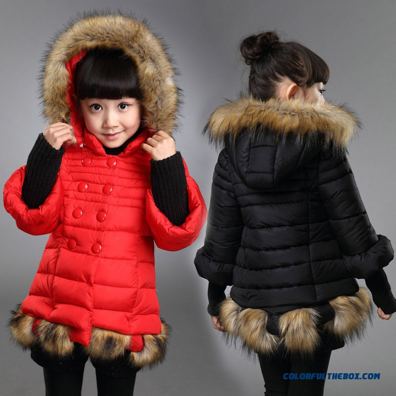 Kids Girls Thick Fur Collar Hooded Cotton Jacket Red Black Clothing