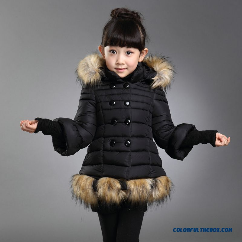 eacb030afbd8 ... Kids Girls Thick Fur Collar Hooded Cotton Jacket Red Black Clothing