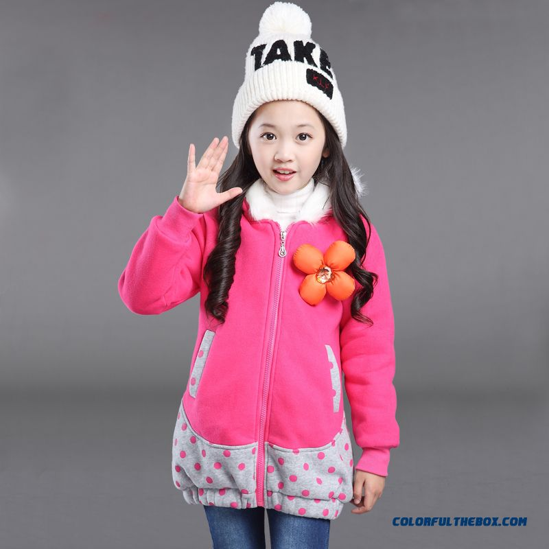 Kids Girls Winter Newzipper Shirt Plus Thick Velvet Coats Polka Dot Zipper Large Flower Decoration