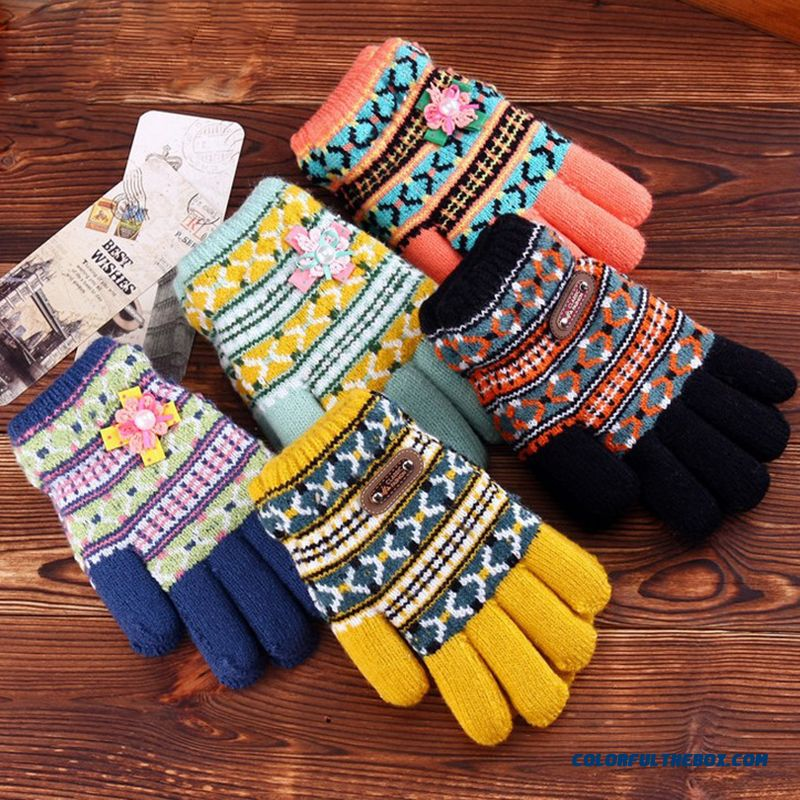 Kids Gloves Five Fingers Boy Double Plus Thick Hair Line Kids Gloves Student Girls Wholesale