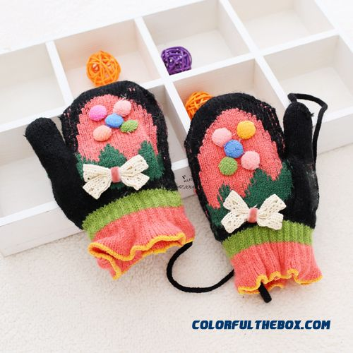 Kids Gloves Winter Boys And Girls Cute Baby Bow Thick Warm Gloves Mittens Halter Gloves Children Accessories