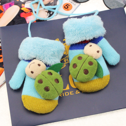 Kids Gloves Winter New Korean Fashion Beetle Boys And Girls Baby Lanyard Wool Gloves Mittens Wholesale