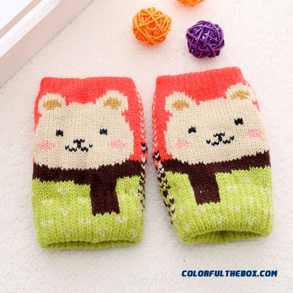 Kids Half-finger Gloves Winter Gloves Shall Cute Boys And Girls Winter Thick Wool Mittens Baby Winter Gloves - more images 1