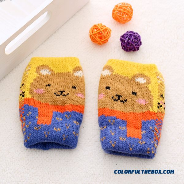 Kids Half-finger Gloves Winter Gloves Shall Cute Boys And Girls Winter Thick Wool Mittens Baby Winter Gloves - more images 2